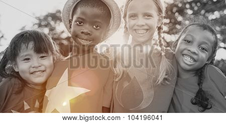 Superhero children Friendship Fun Smiling Concept