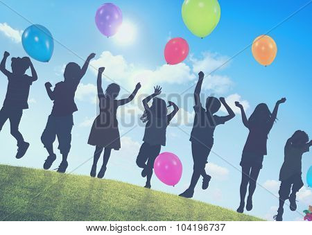 Children Outdoors Playing Balloons Togetherness Concept