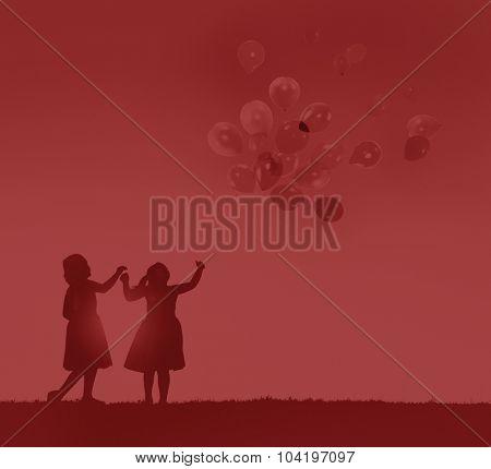 Balloon Children Child Childhood Cheerful Leisure Concept