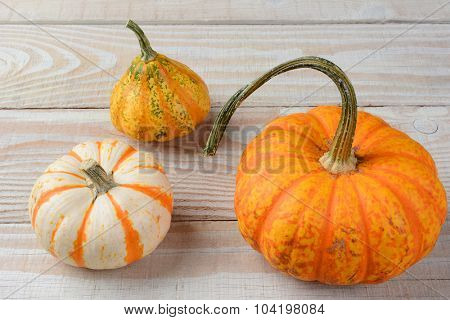 Decorative Gourds and Pumpkins on Wood table.