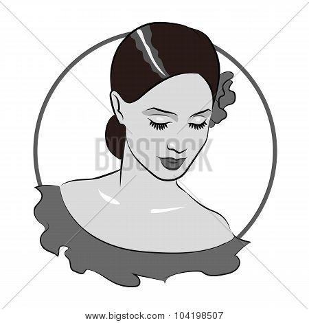 Beautiful girl face 1. Flamenco dancer