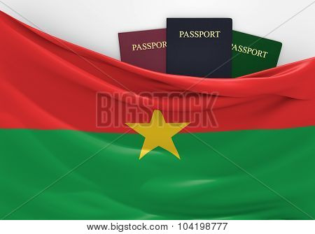 Travel and tourism in Burkina Faso, with assorted passports