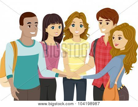 Illustration of a Teenage Group Putting Their Hands Together