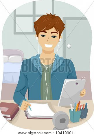 Illustration of a Teenage Guy Taking Down Notes While Studying