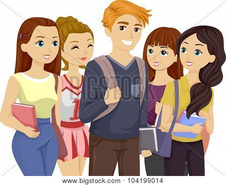 Illustration of a Popular Teenage Guy Surrounded by Girls