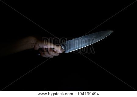 Handle Knives in the dark background for murder