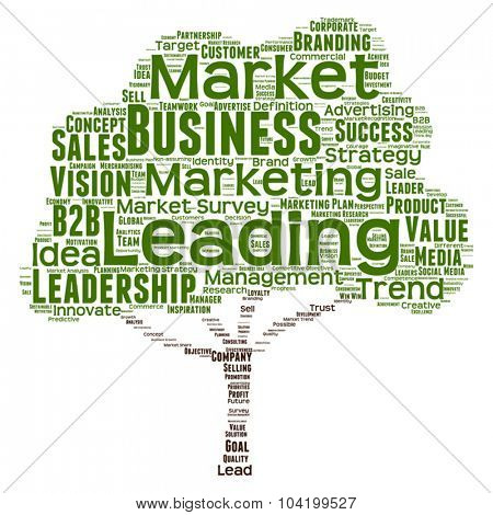 Vector concept or conceptual green tree leadership marketing or business word cloud on white background wordcloud