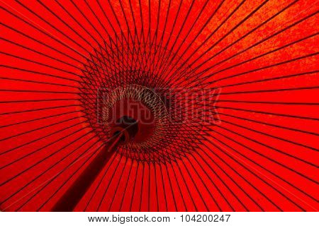 Red oriental paper umbrella