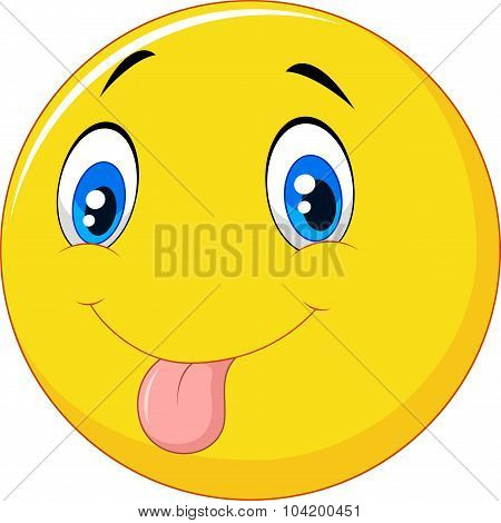 Cartoon emoticon with silly face