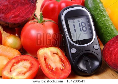 Vegetables And Glucose Meter On Wooden Surface, Healthy Lifestyle, Nutrition, Diabetes