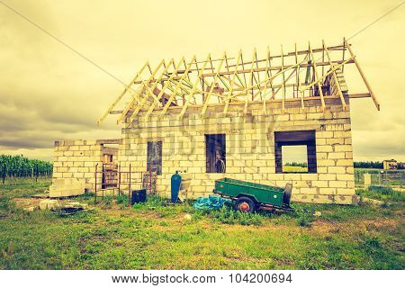 Vintage Photo Of Unfinished House In Countryside