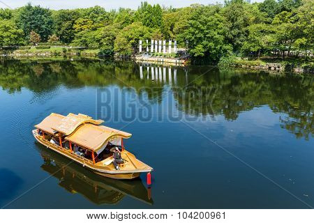 Tourism boat on the river in Osaka
