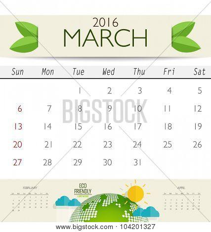 2016 calendar, monthly calendar template for March. Vector illustration.