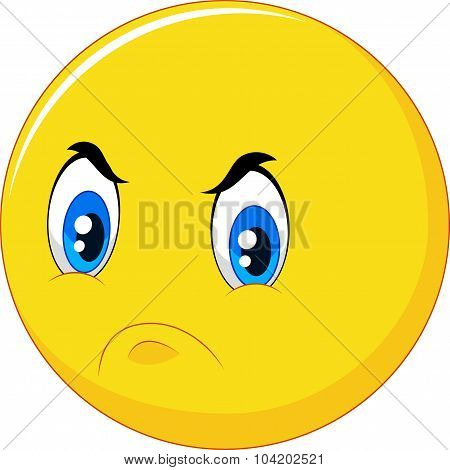 Cartoon emoticon with angry face isolated on white background