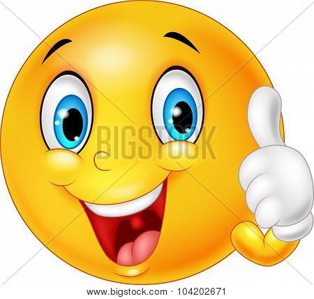 Happy emoticon giving thumb up isolated on white background