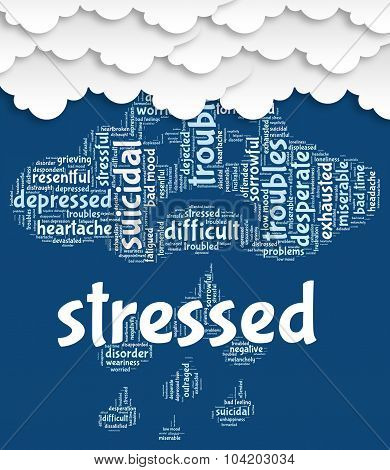 Stressed Word Shows Overload Wordcloud And Words