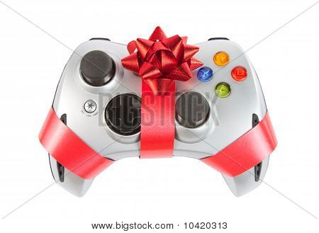 Joystick With Red Ribbon And Bow
