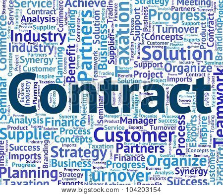 Contract Word Represents Settlements Contracted And Agreements