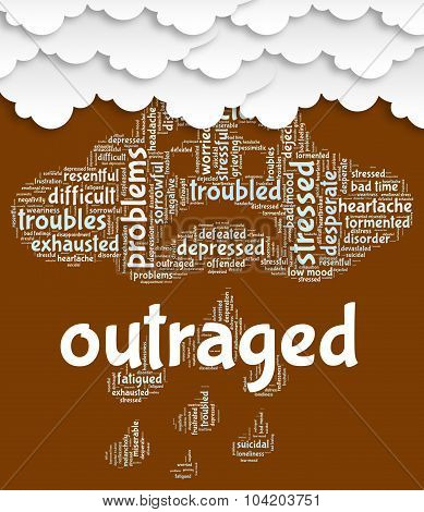 Outraged Word Indicates Angered Words And Text