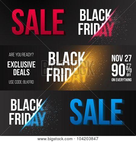 Black Friday Sale Vector Exlosion Banner Template. Huge November