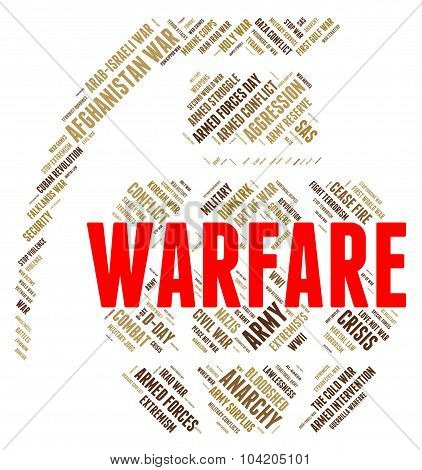 Warfare Word Shows Fighting Battle And Skirmish