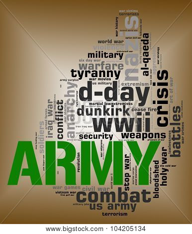 Army Word Shows Defense Forces And Armed