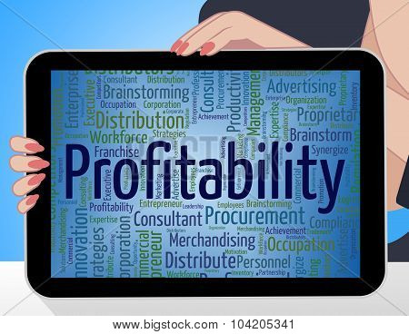 Profitability Word Indicates Return Financial And Profiting