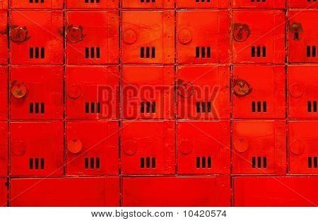 Aged Mailboxes Spain Condominium Wooden Wall Rusty Brass
