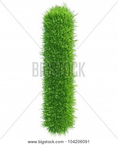 Vector capital letter I from grass on white background
