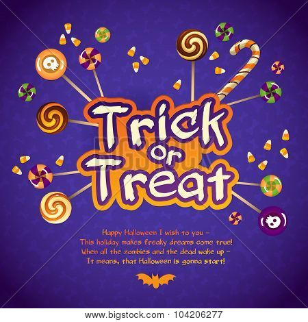 Happy Halloween Trick Or Treat Greeting Card With Sweets And Candy Cornon Violet Background