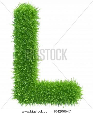 Vector capital letter L from grass on white background
