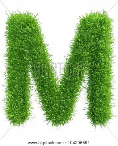Vector capital letter M from grass on white background