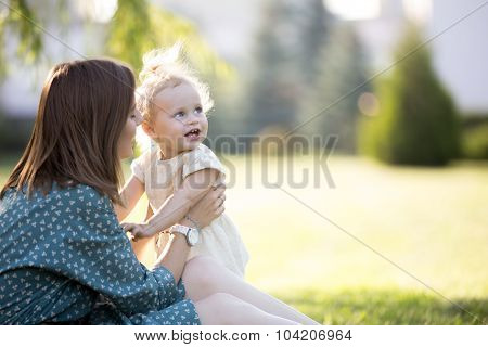 Mom Playing With Little Daughter