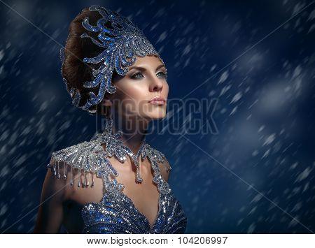 Winter Beauty Woman In A Shiny Dress. Snow Queen.