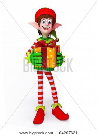 Cartoon Elves With Gift Box