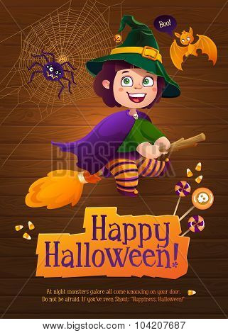 Happy Halloween Witch Girl Flying on Broom. Greeting Card with Cute Bat and Silly Spider