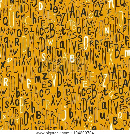 Seamless letters pattern. On yellow paper texture. Different hand drawn alphabets