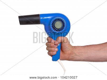Old Blue Hairdryer In Hand