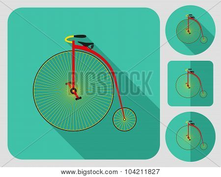 Penny bike icon. Flat long shadow design. Bicycle icons series.