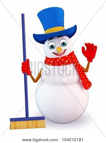 Snowman With Cleaning Mob