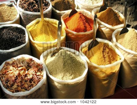 Indian Spices In Large Sacks