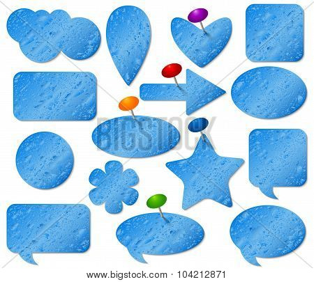 Blue stickers set with misted glass effect and colored pushpins.