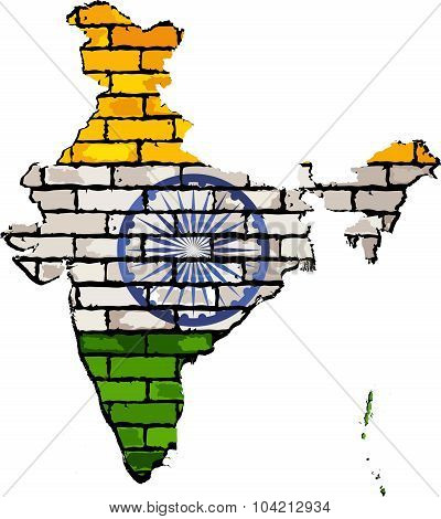 India Map On A Brick Wall