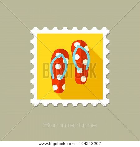 Flip Flops flat stamp with long shadow