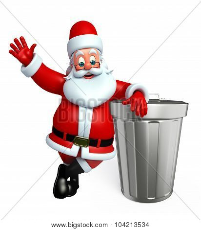 Cartoon Santa Claus With Dust Bin