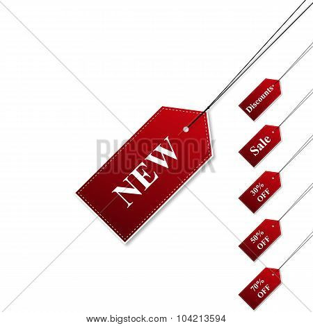 Set Tags Sale Red Color With Shadow Stylish