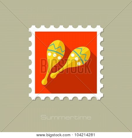 Maracas flat stamp with long shadow