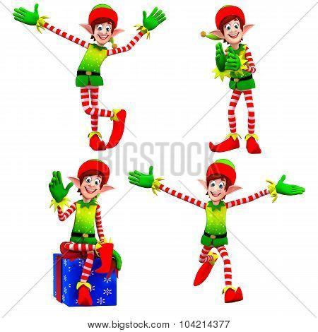 Cartoon Elves With Gift Box