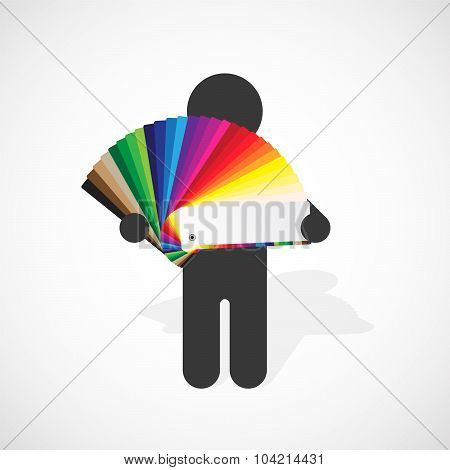 Black Silhouette Of A Man Holds Developed Color Swatches Palette With Bright Colors