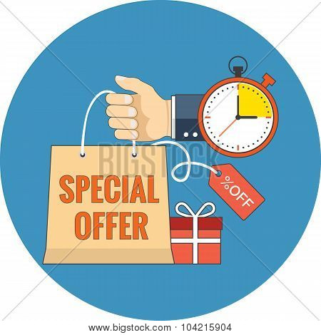 Limited Time Special Offer Concept. Flat Design.